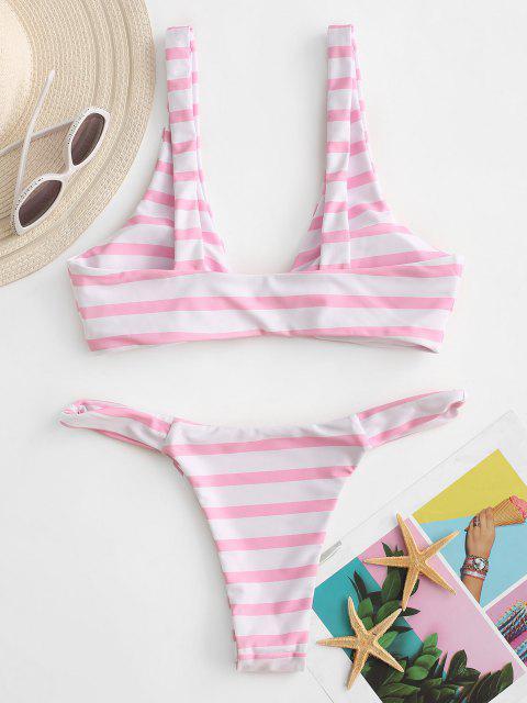 hot ZAFUL Contrast Stripes Knots High Cut Bikini Swimwear - LIGHT PINK S Mobile