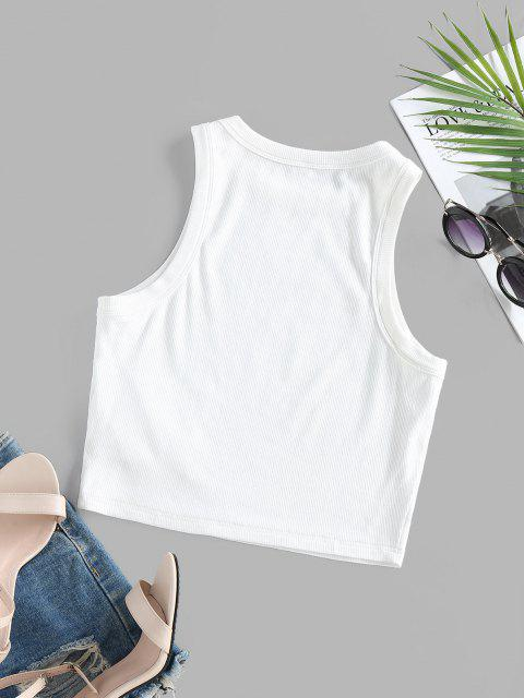 new ZAFUL Ribbed Fitted Crop Tank Top - WHITE S Mobile