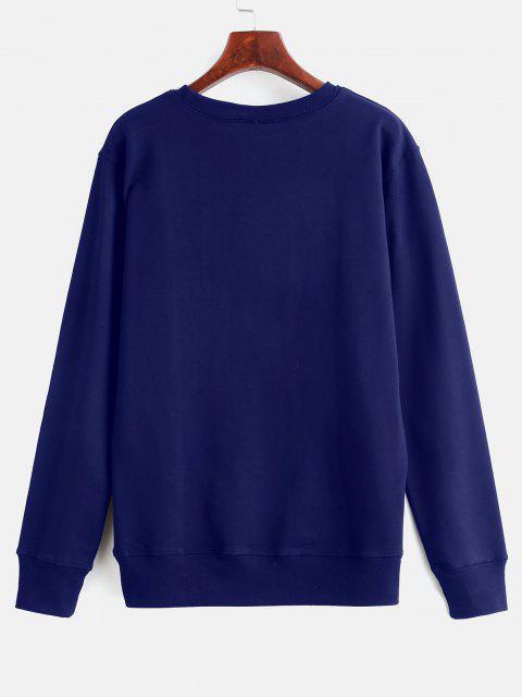 Floral Print Graphic Pullover Sweatshirt - ازرق غامق L Mobile