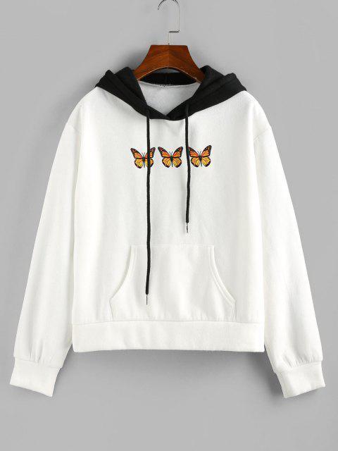 ZAFUL Colorblock Butterfly Print Kangaroo Pocket Hoodie - أبيض M Mobile