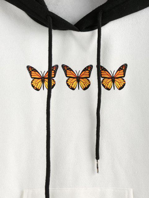 women ZAFUL Colorblock Butterfly Print Kangaroo Pocket Hoodie - WHITE S Mobile