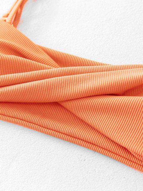 outfit ZAFUL Ribbed Twisted Tie Bikini Swimsuit - ORANGE S Mobile