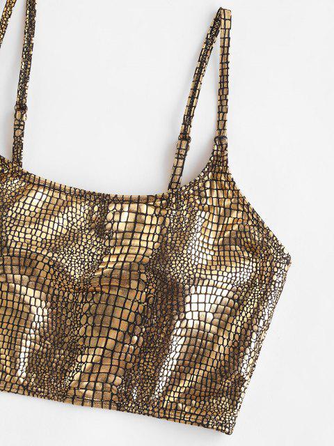 women's ZAFUL Metallic Snakeskin Tank Bikini Top - GOLDEN L Mobile