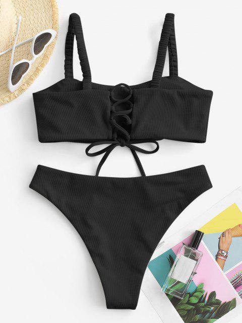 ZAFUL Maillot de Bain Bikini Texturé à Bretelle Elastique à Lacets - Noir M Mobile