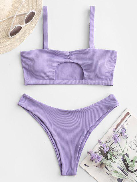ZAFUL Maillot de Bain Bikini Côtelé Découpé à Volants - Violet clair L Mobile