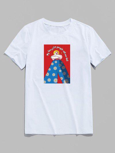 T-shirt De Base Lettre Marguerite Dessin Animé Imprimée - Blanc Xs