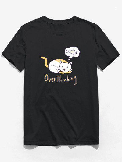 T-shirt Chat Amusant Graphique à Manches Courtes - Noir Xs
