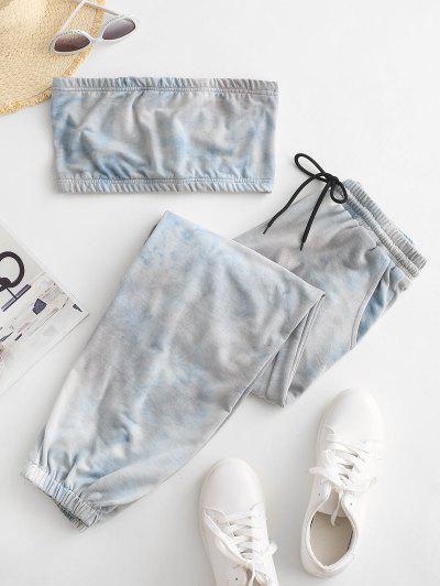 Tie Dye Bandeau Top And Jogger Sweatpants Set - Light Blue S
