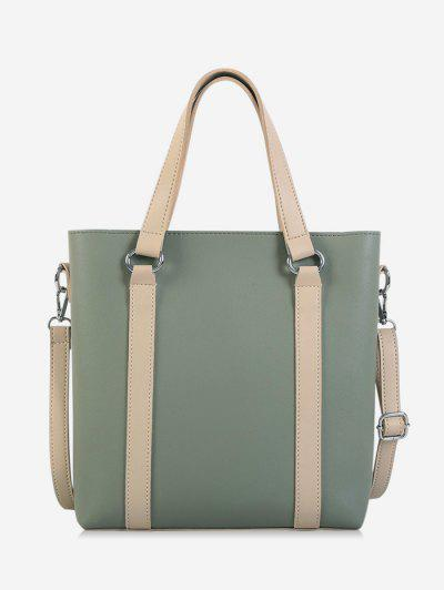 Contrast Color Leather Large Capacity Tote Bag - Sea Green