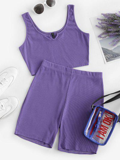 Two Piece Ribbed V-notched Biker Shorts Set - Purple L