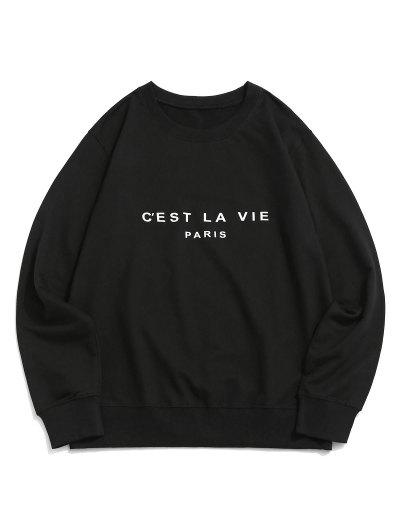 French Quote Print Crew Neck Casual Sweatshirt - Black S