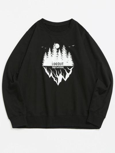 Landscape Graphic Crew Neck Casual Sweatshirt - Black 2xl