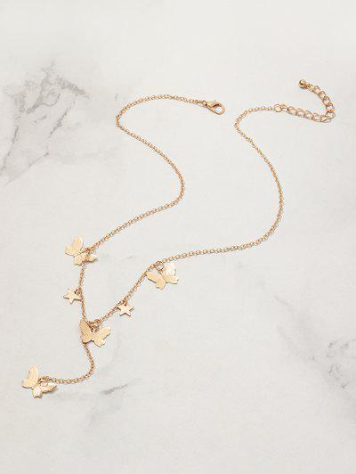 Star Butterfly Pendant Chain Necklace - Golden
