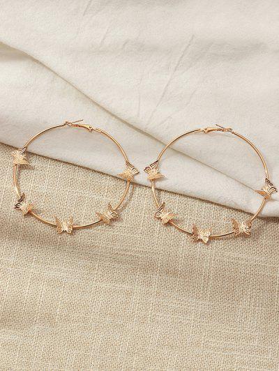 Metal Butterfly Shape Hoop Earrings - Golden