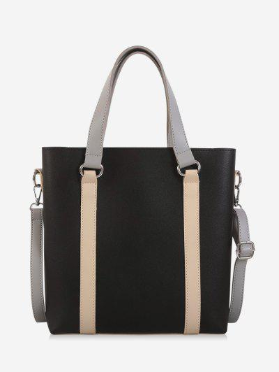 Contrast Color Leather Large Capacity Tote Bag - Black