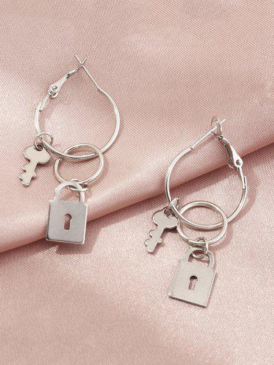 Lock And Key Hoop Earrings - Silver