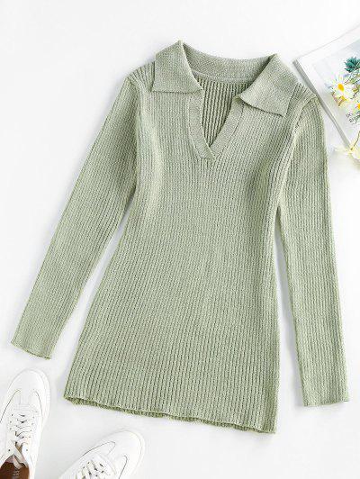 ZAFUL V Notched Mini Bodycon Sweater Dress - Light Green S