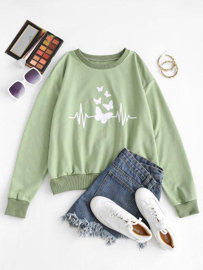 Crew Neck Butterfly Print Pullover Sweatshirt - Light Green L