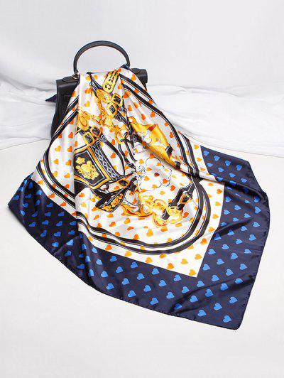 Heart Strap Print Satin Square Scarf - Cadetblue