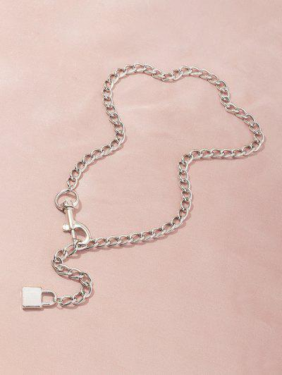 Adjustable Lock Pendant Chain Necklace - Silver