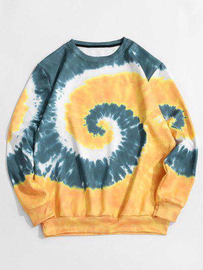 Spiral Tie Dye Print Pullover Sweatshirt - Goldenrod 2xl