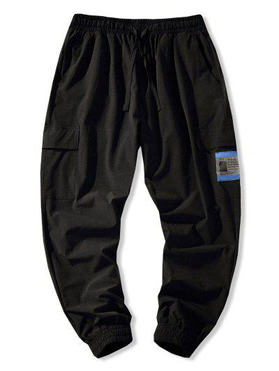 Flap Pocket Beam Feet Pants - Black M