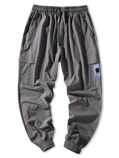 Flap Pocket Beam Feet Pants - Dark Gray 4xl