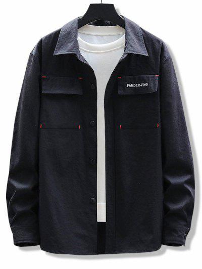 Letter Embroidery Elbow Patchwork Flap Pocket Shirt - Black L
