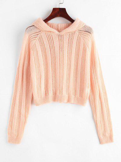 Pointelle Knit Hooded Raglan Sleeve Sweater - Light Pink S