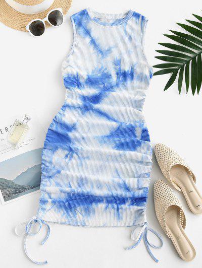 Robe Moulante Côtelée Teintée à Côté à Lacets - Bleu Clair S