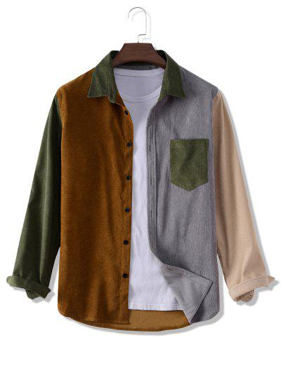 Colorblock Panel Corduroy Pocket Patch Shirt - Multi L