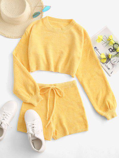 Chenille Lantern Sleeve Drawstring Two Piece Shorts Set - Yellow