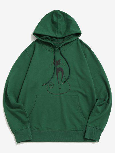 Gothic Cat Graphic Pouch Pocket Pullover Hoodie - Deep Green Xs