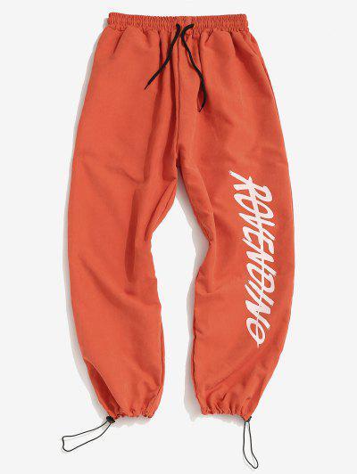 Letter Print Drawstring Toggle Pants - Orange M