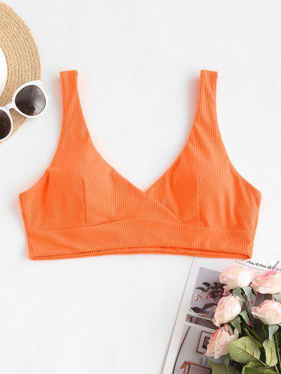 ZAFUL Übergröße Bikini-Top Mit Gerippten Ärmeln - Dunkles Orange Xl