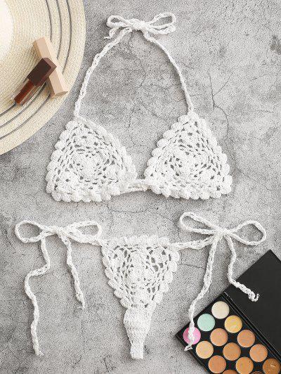 Crochet Halter Thong Bikini Swimwear - White S