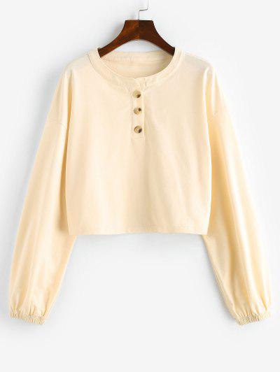 ZAFUL Cropped Half Button Sweatshirt - Apricot S