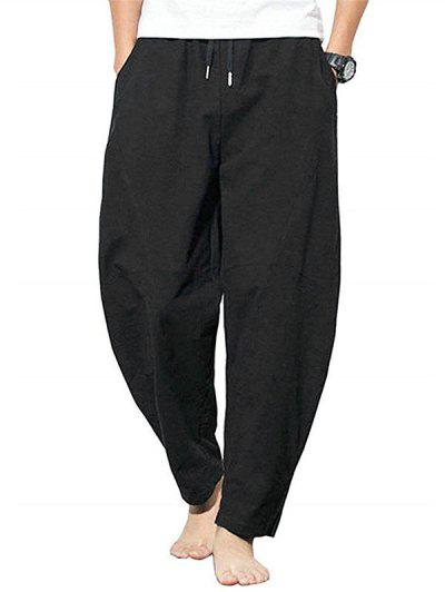 Pure Color Drawstring Slit Hem Casual Pants - Black M