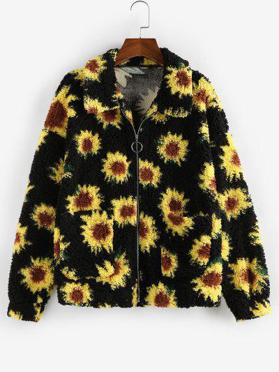 ZAFUL Faux Fur Flower Print Drop Shoulder Coat - Black Xl