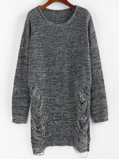 ZAFUL Ripped Heathered Long Tunic Sweater - Black L