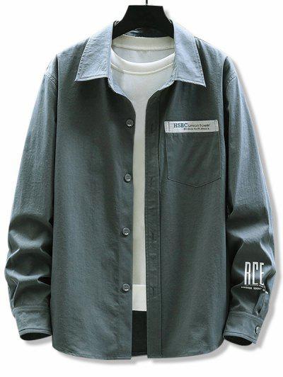 Letter Print Chest Pocket Long Sleeve Shirt - Dark Gray L