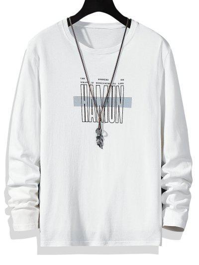 Letter Print Crew Neck Long Sleeve T-shirt - White L