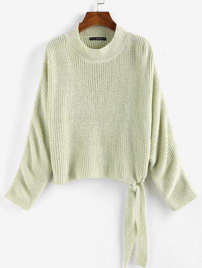 ZAFUL Tie Hem Batwing Sleeve Jumper Sweater - Light Green S