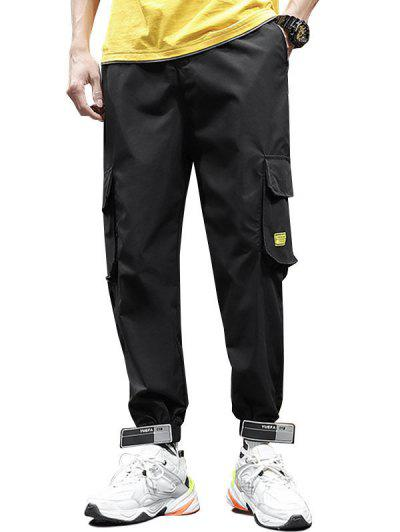 Letter Applique Drawstring Cargo Jogger Pants - Black 2xl