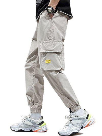 Letter Applique Drawstring Cargo Jogger Pants - Khaki Xl