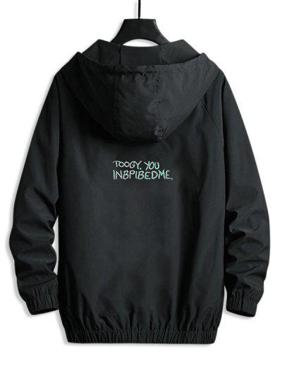Lettering Back Hooded Windbreaker Jacket - Black Xl