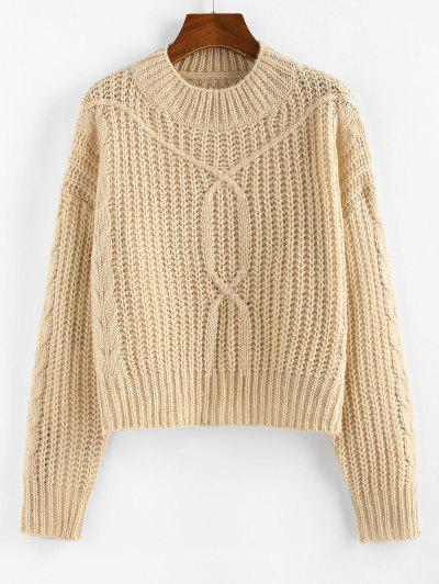 ZAFUL Drop Shoulder Cable Knit Sweater - Light Coffee S