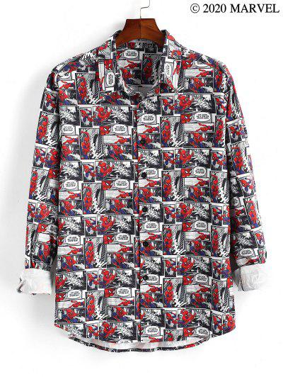 Marvel Spider-Man Comics Print Button Up Shirt - Ruby Red S