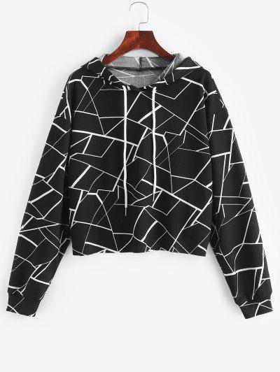 ZAFUL Geometry Print Drawstring Hoodie - Black S