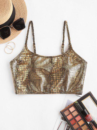 ZAFUL Metallic Snakeskin Tank Bikini Top - Golden S